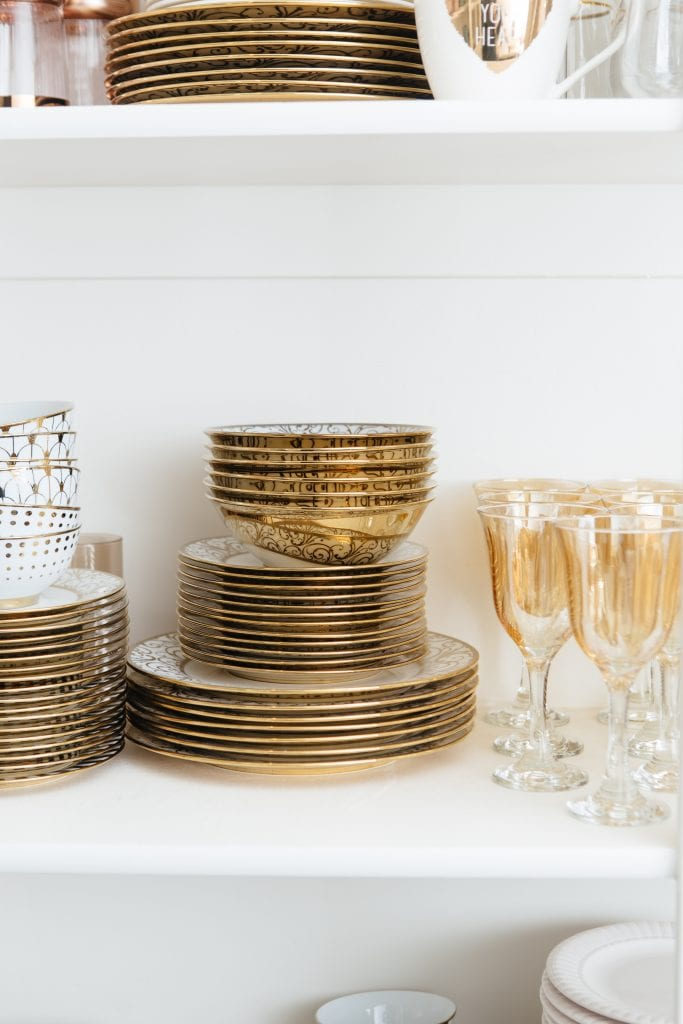 Gold Dish Ware Collection Organized