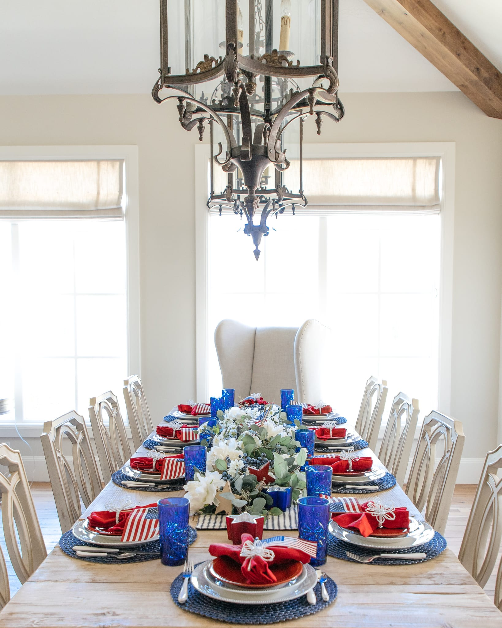 Patriotic Themed Red White and Blue Tablescape