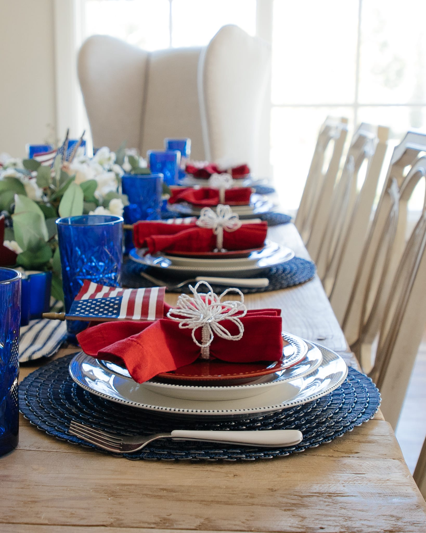 red white and blue patriotic tablescape, american flag