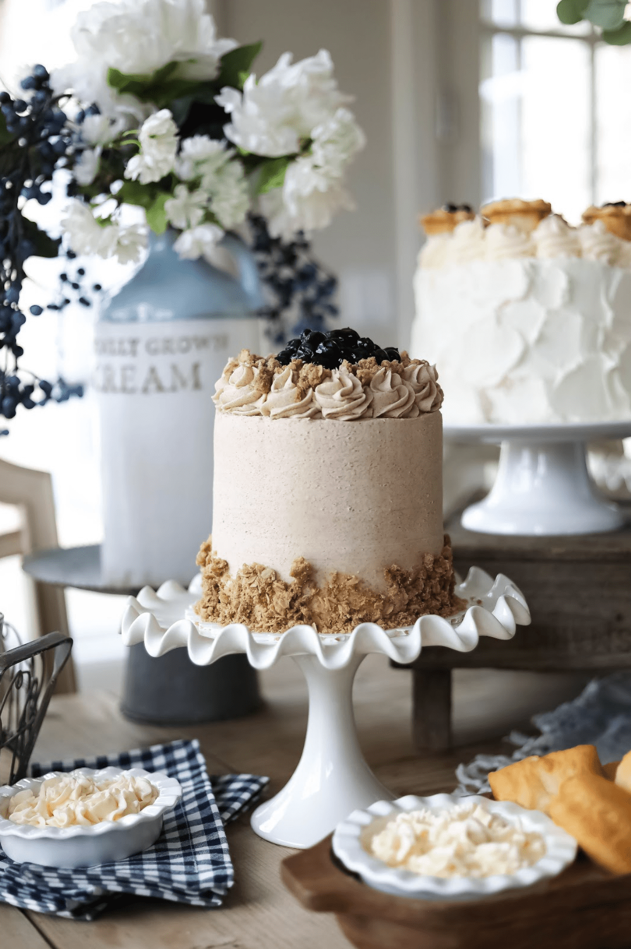 Pioneer Day Pie on cake stand