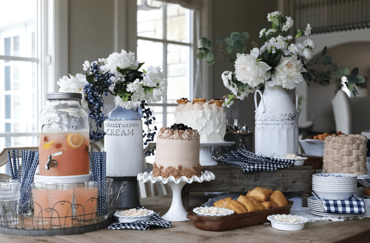 pie and cake display with lemonade