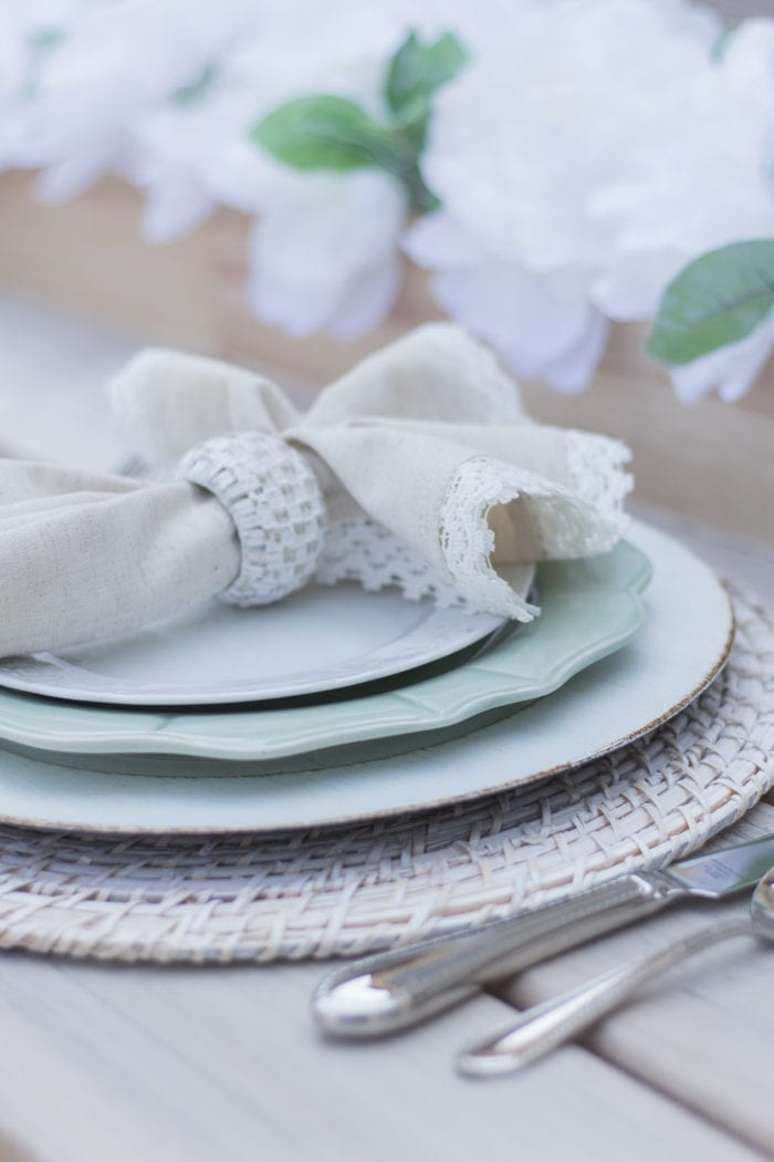 Sage Green and White Fall Transitional Tablescape