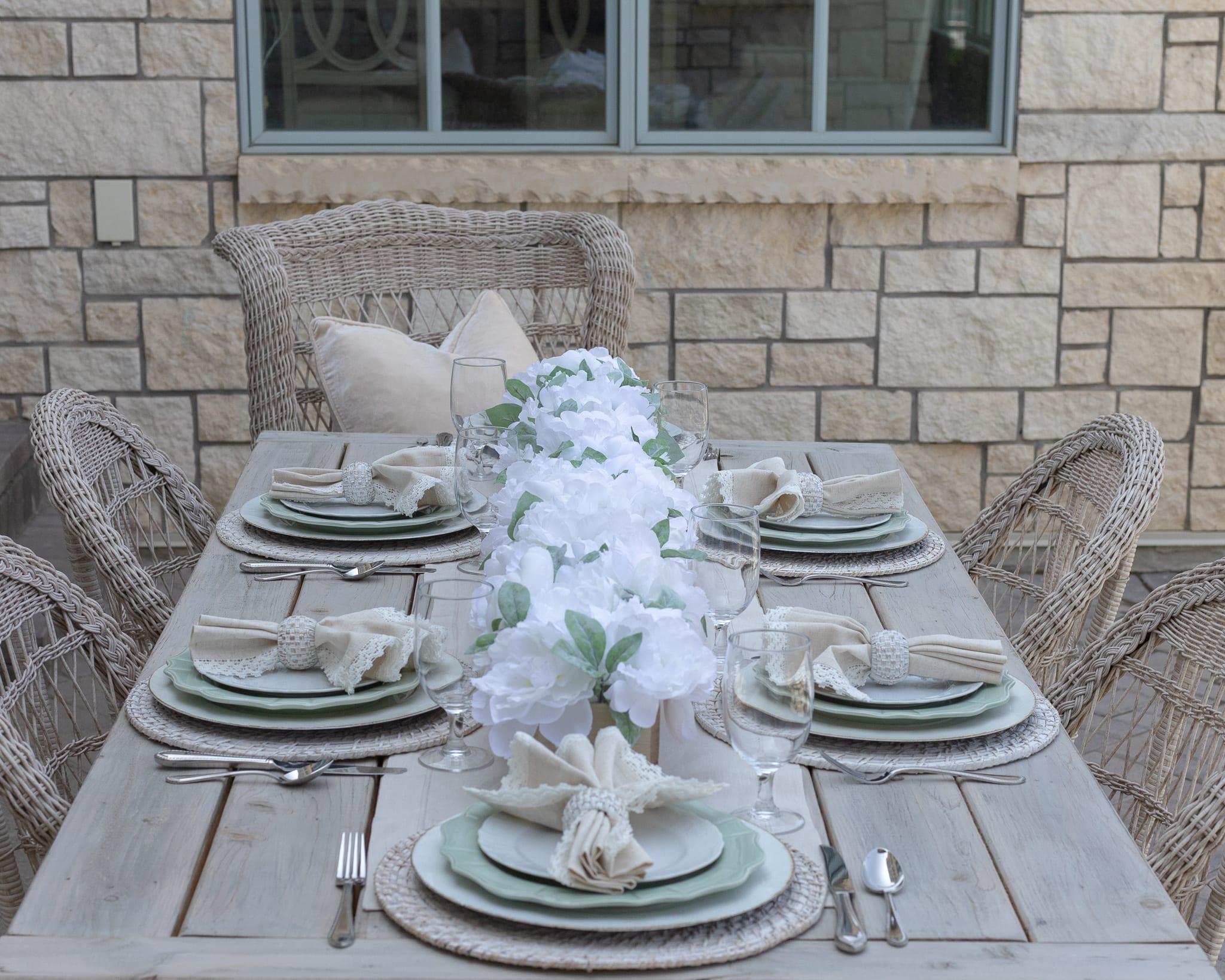 tablescape sage green white