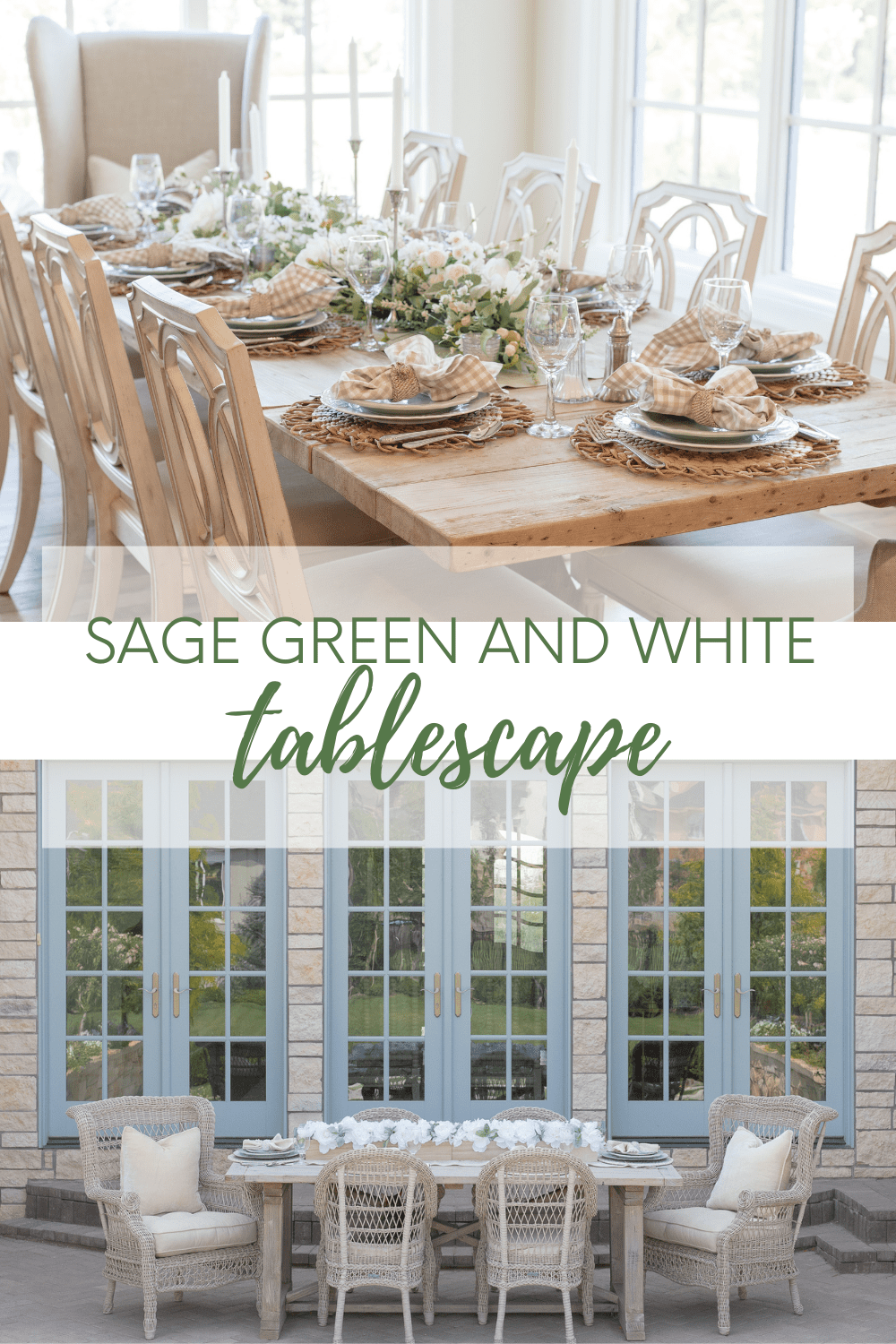 sage green and white tablescape