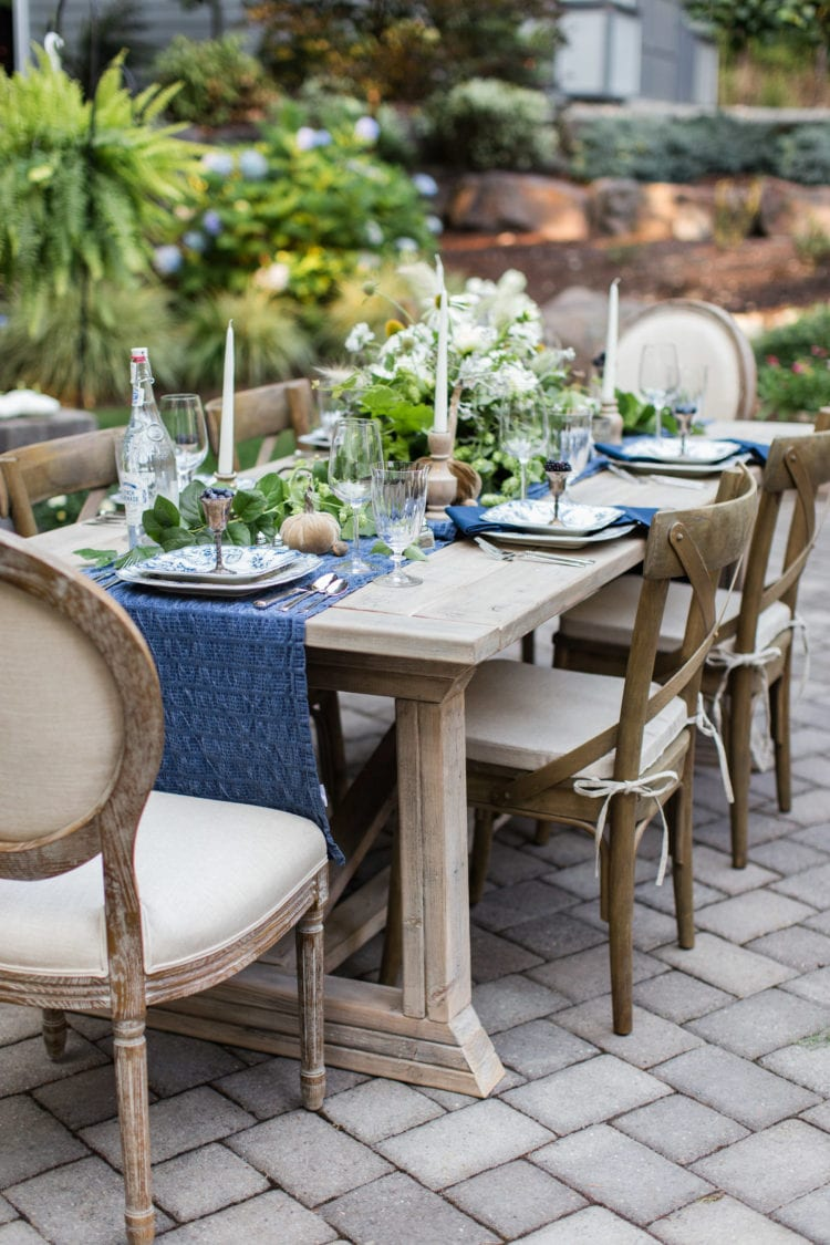 outdoor tablescape entertaining farm to table flowers garden