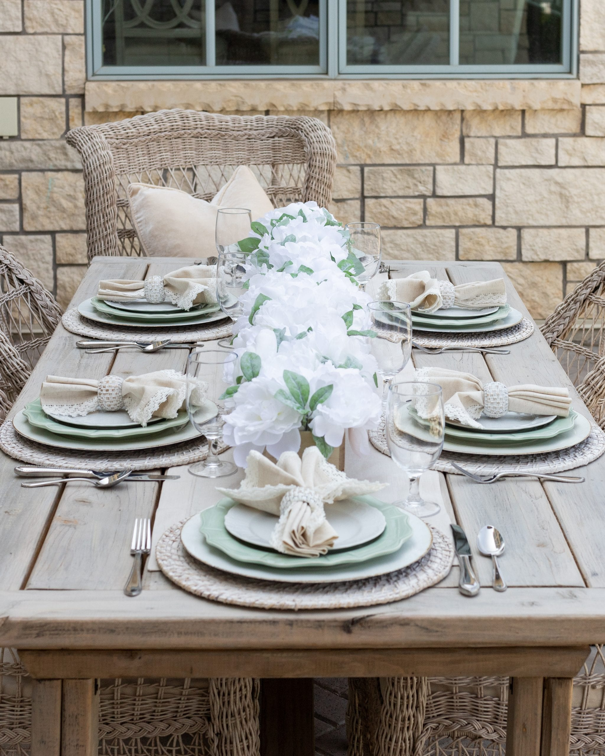 sage green white outdoor fall tablescape
