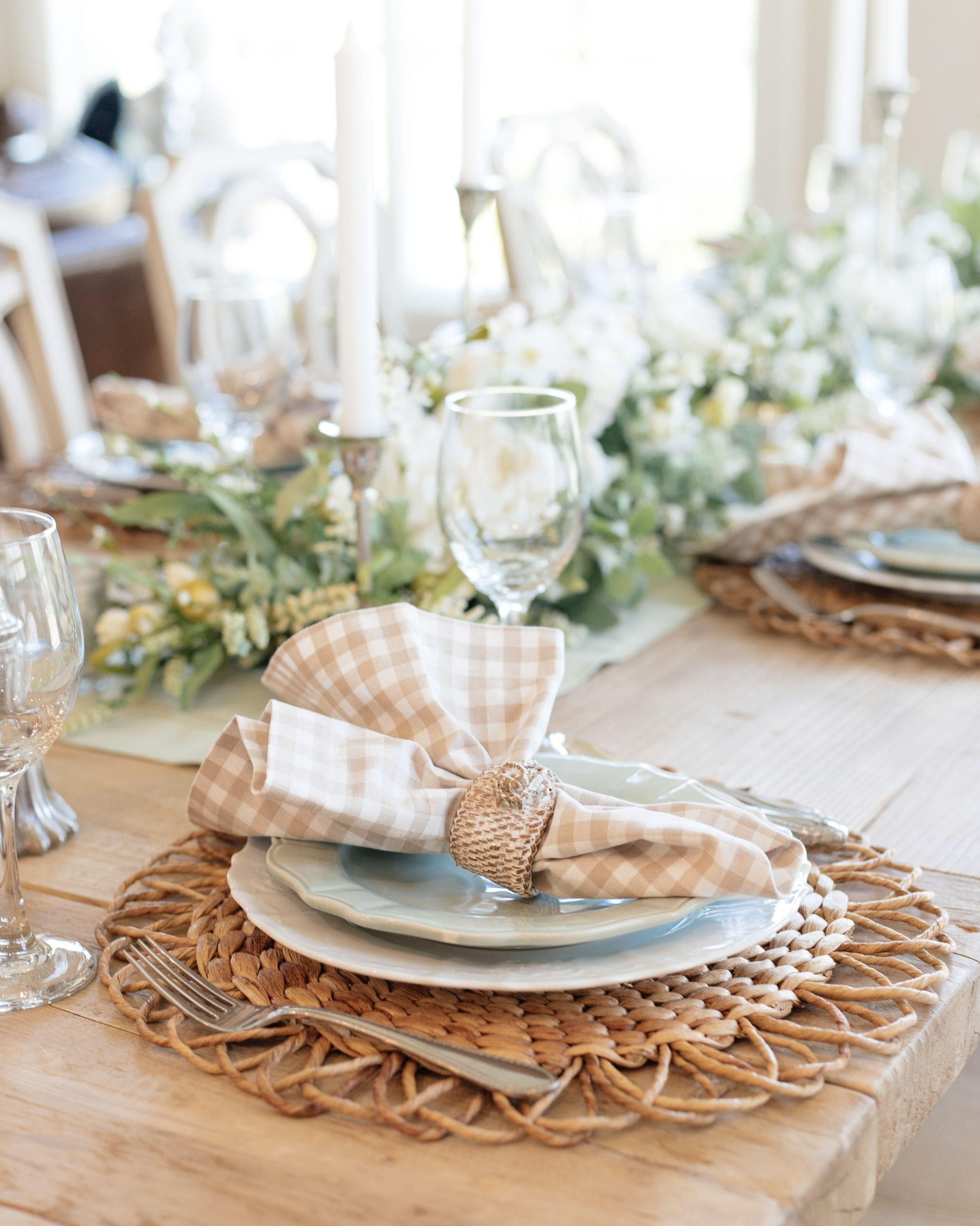 sage green and white table setting