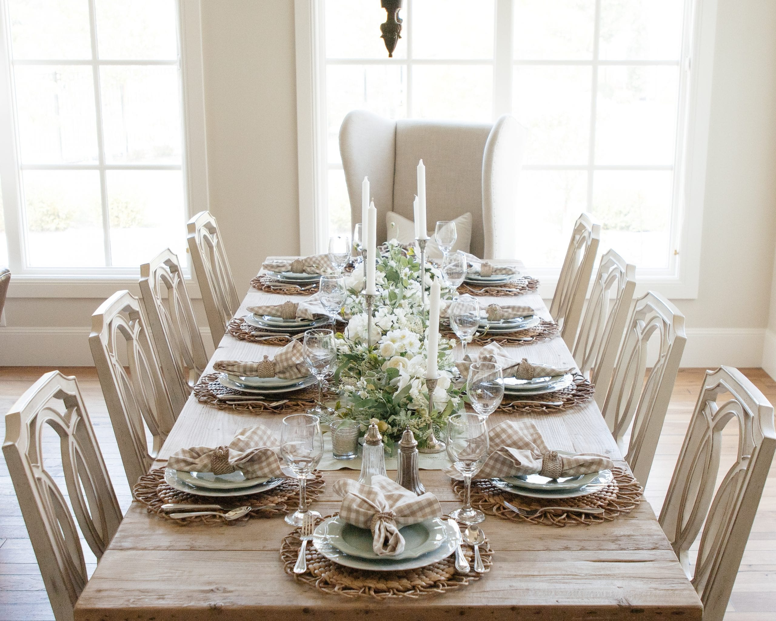 sage green and white fall table