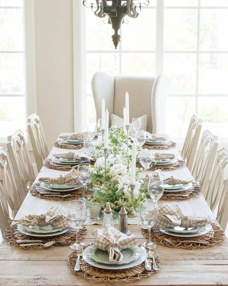 sage green white fall transitional tablescape