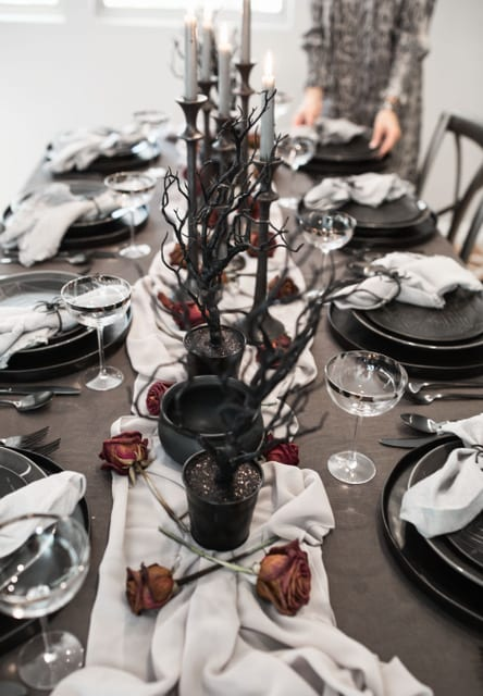 halloween tablescape fall decor table setting place setting entertaining black table decor