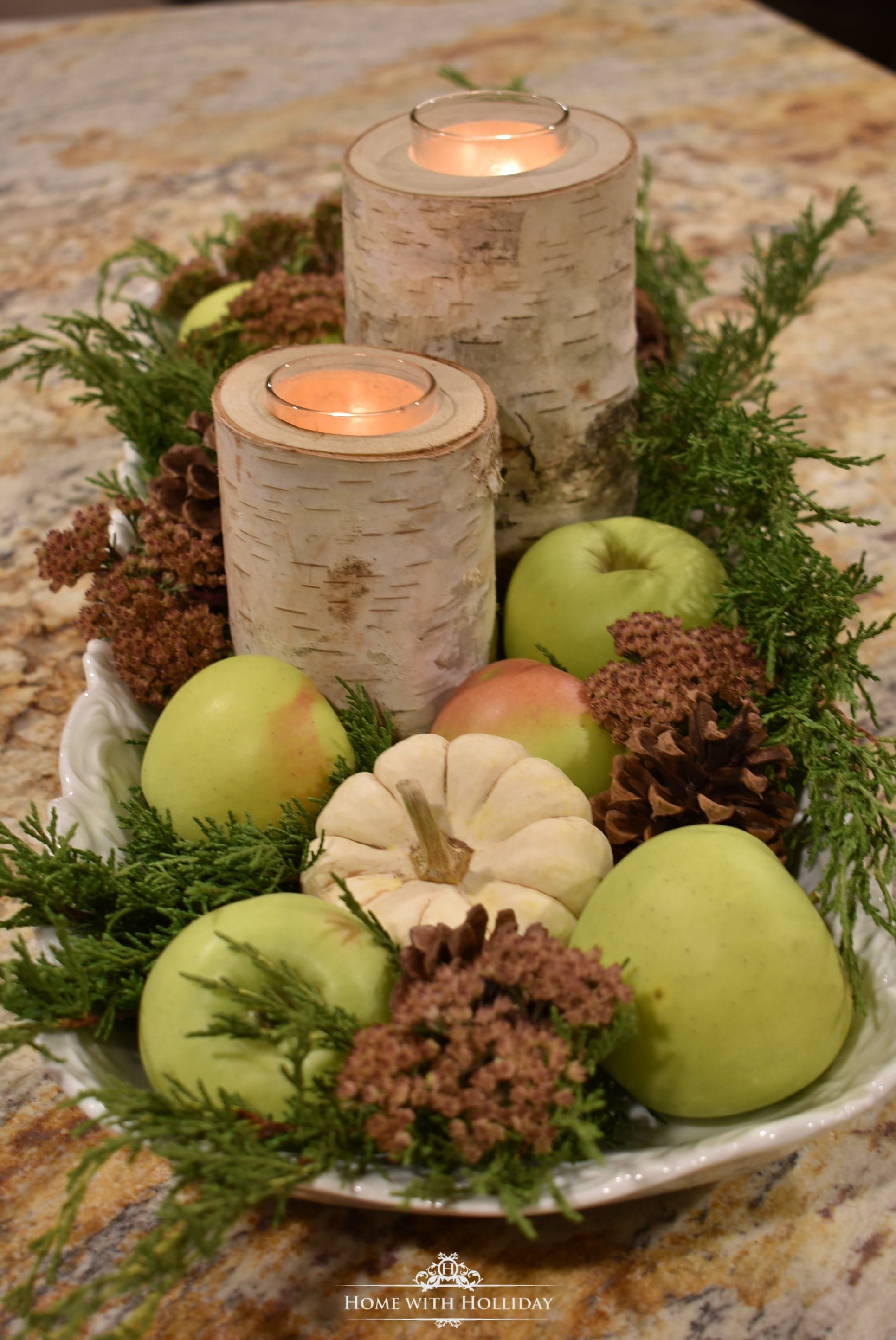 Fall table Centerpiece green apples tablescape nature entertaining table decor table setting hostess ideas using nature thanksgiving pumpkins flowers pine cones decor