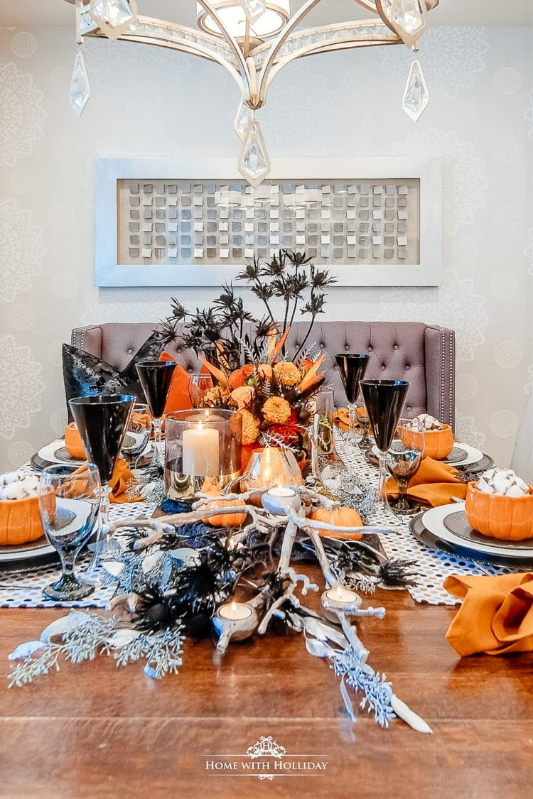 pumpkins black orange decor table setting dinnerware stemware tablescape halloween decor hosting at home fall tablescape entertaining pumpkins recipes thanksgiving tree fall decor autumn decorating ideas
