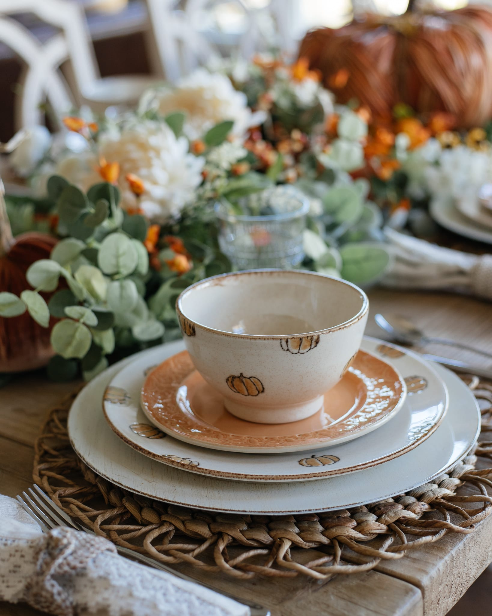 pumpkins tablescape table setting table decor fall table fall decor entertaining dinnerware fall flowers