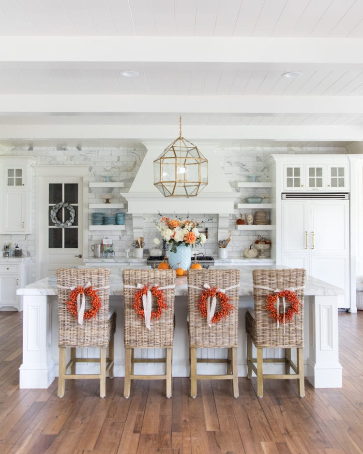 fall home tour fall decor entertaining orange and blue decor flowers pumpkins tables capes home decor