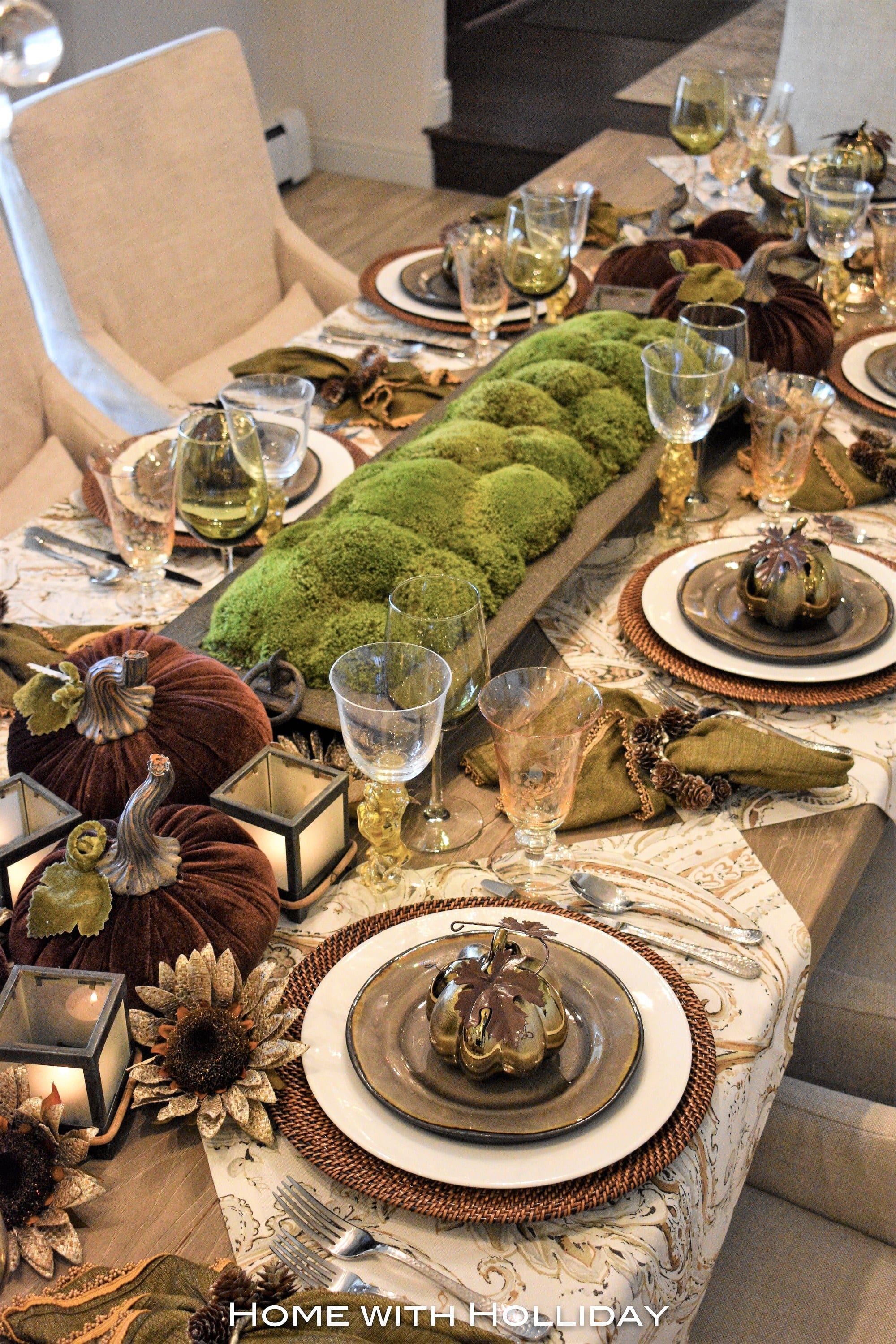 Green and Brown Fall Tablescape with Moss Centerpiece