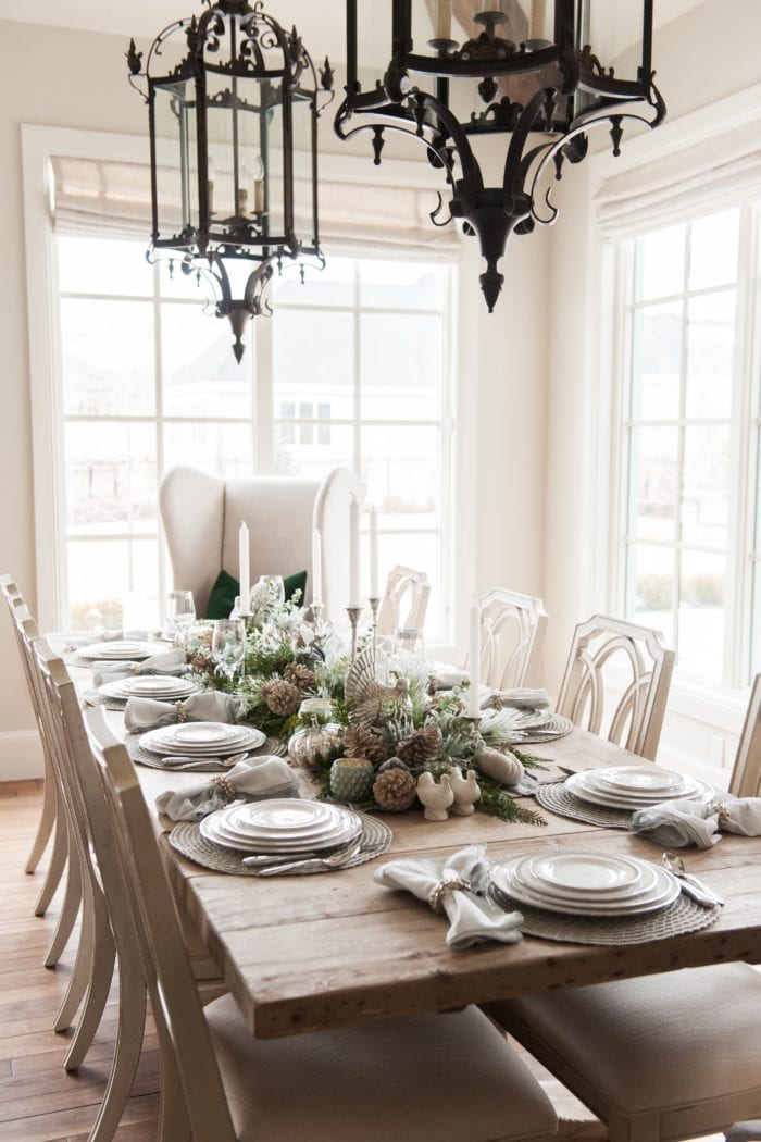 Thanksgiving Silver and White Tablescape