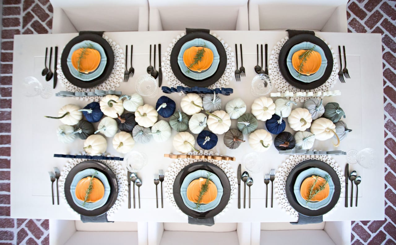 tablescape table top table setting table decor fall decor halloween pumpkins blue orange table decor hostess entertaining dinner table