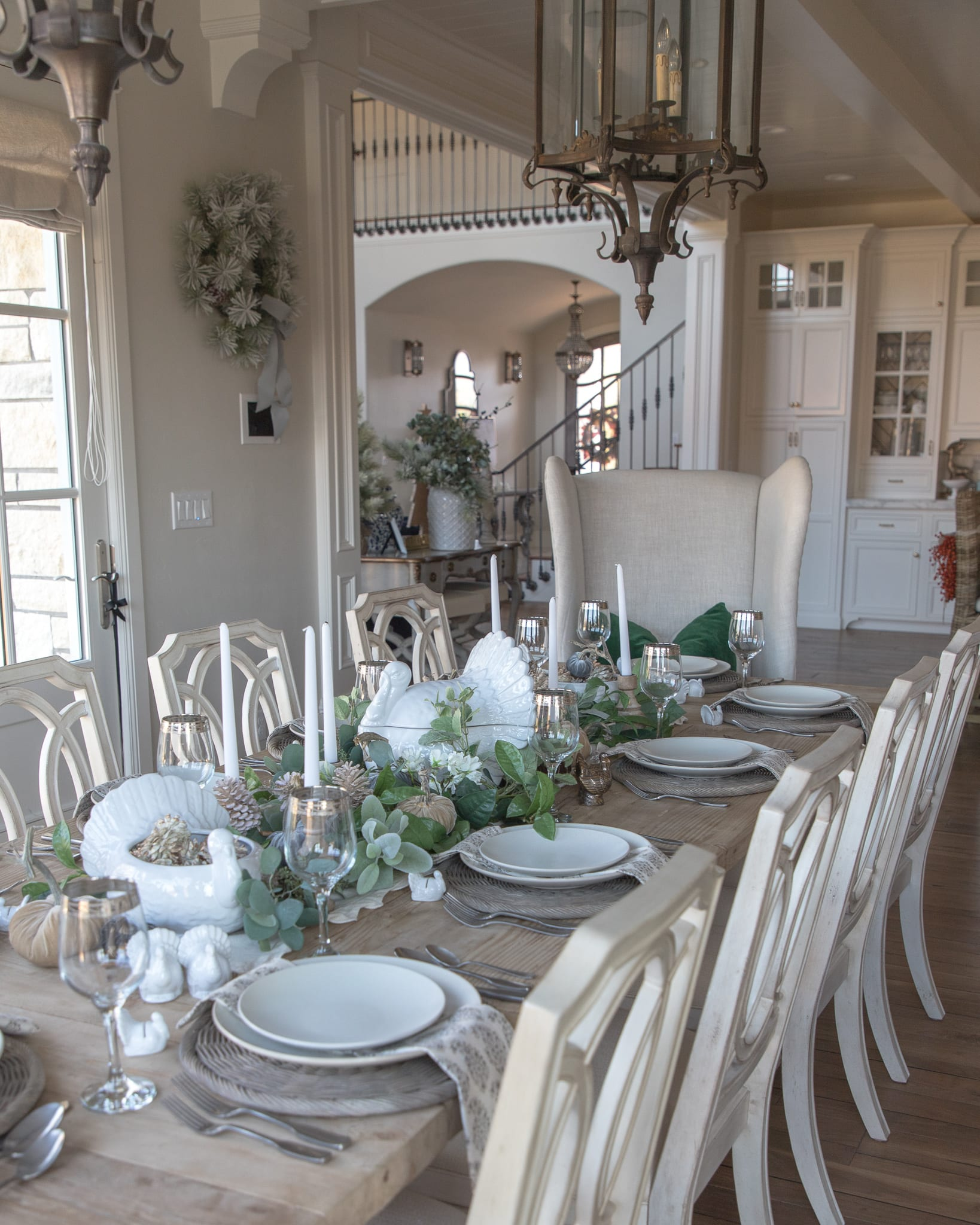 turkey turkeys tablescape white and green tablescape table setting place setting thanksgiving turkey day dinner table dining table dining room pottery barn entertaining