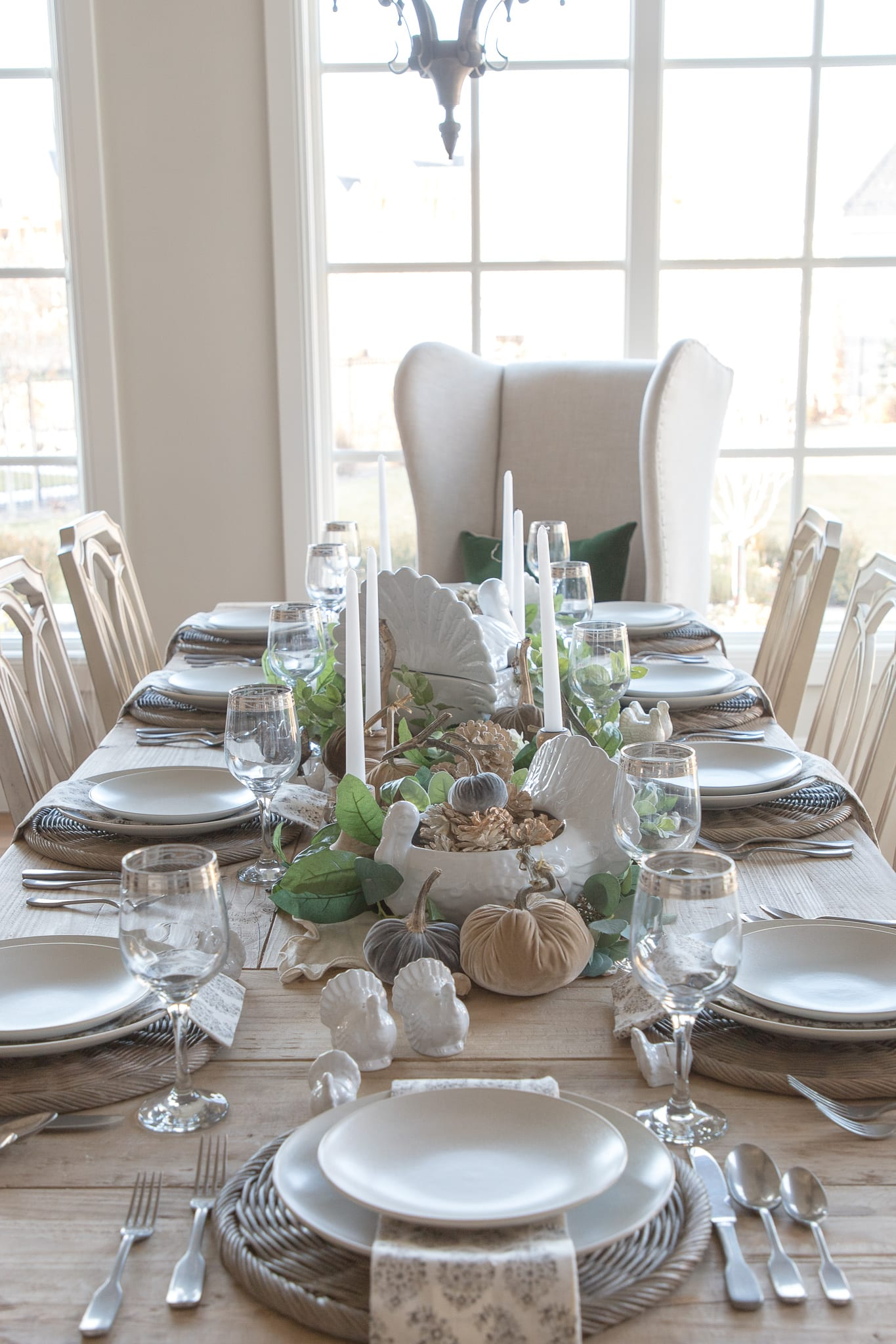 white and green tablescape