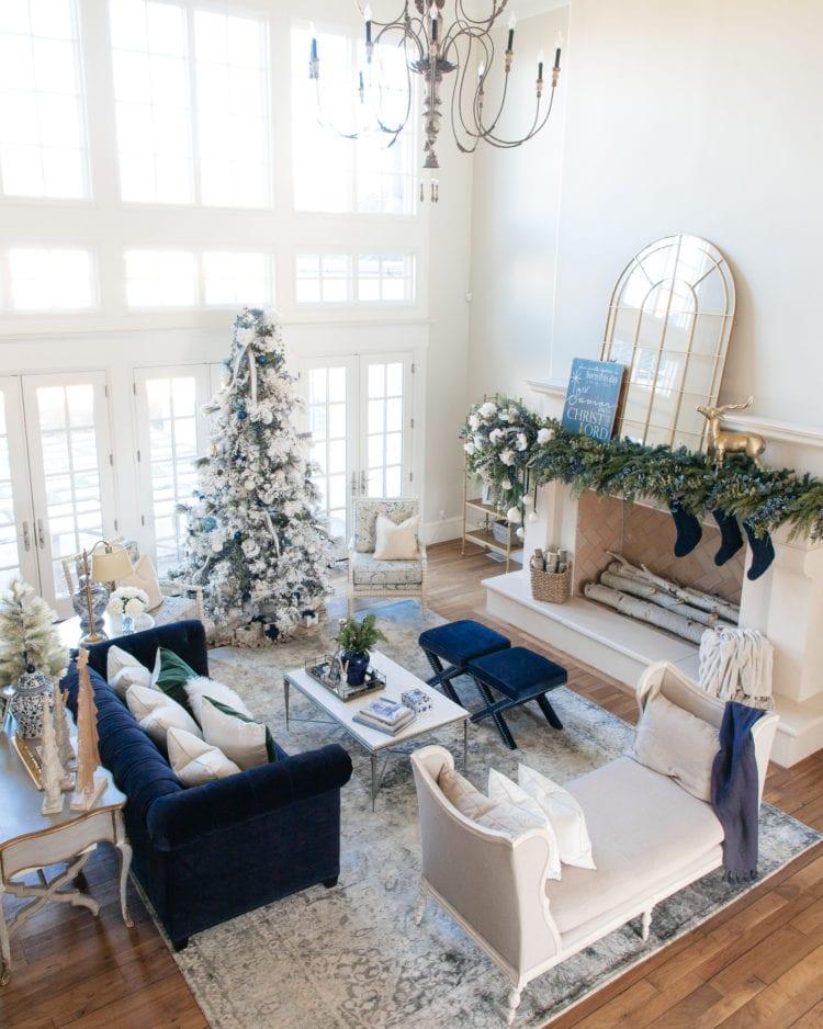 Christmas Home Tour Christmas Decorations Flocked christmas tree mantle decorations blue christmas decor