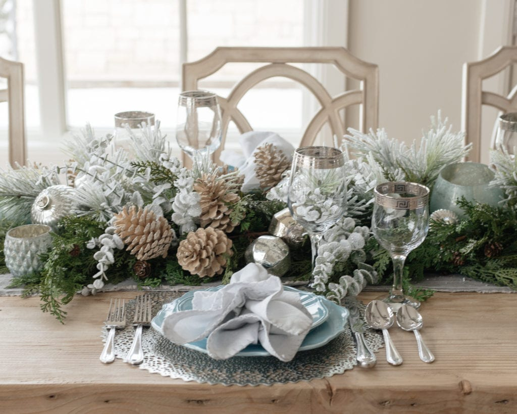 christmas decor wreaths holiday decor seasonal decor blue place setting table decor dining room tablescape table setting blue and silver