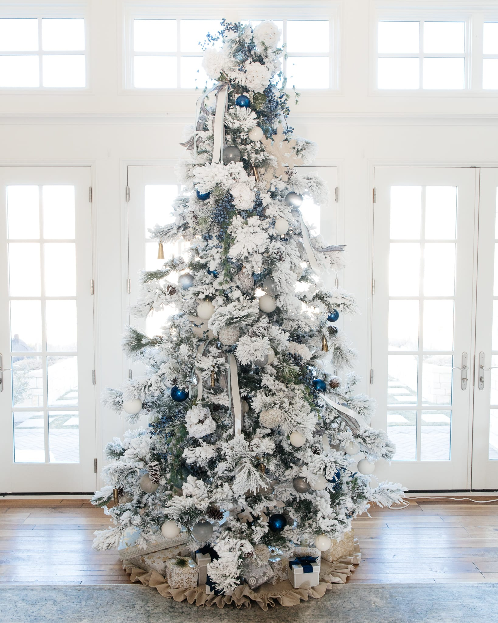 christmas tree christmas decor holiday decor home decor christmas blue silver ivory ornaments flocked tree