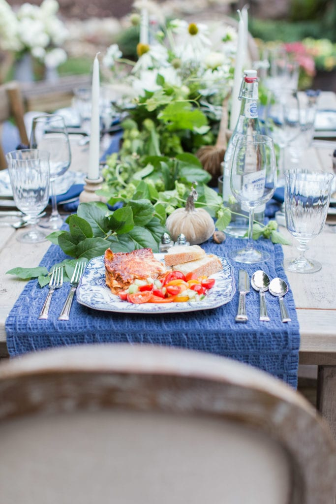recipe lasagna tablescape french country blue table setting outdoor entertaining place setting italian recipes entertaining hosting christmas dinner ideas
