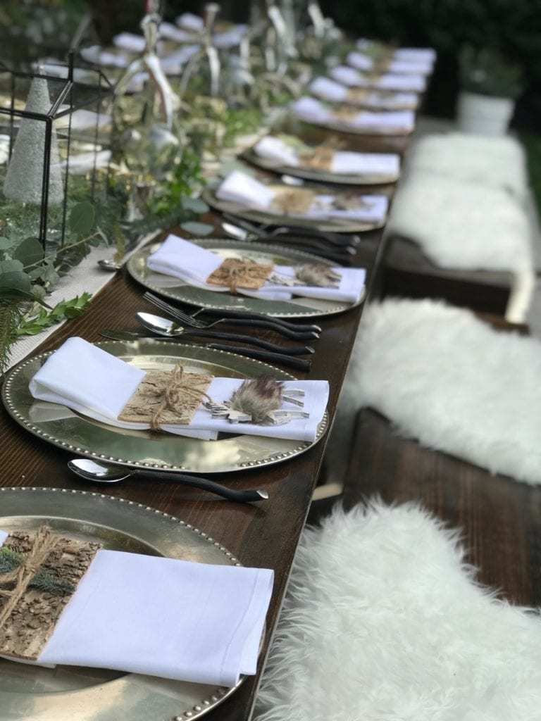 tablescape table setting nordic theme table place setting christmas decor winter table winter decor dinner party entertaining hosting at home