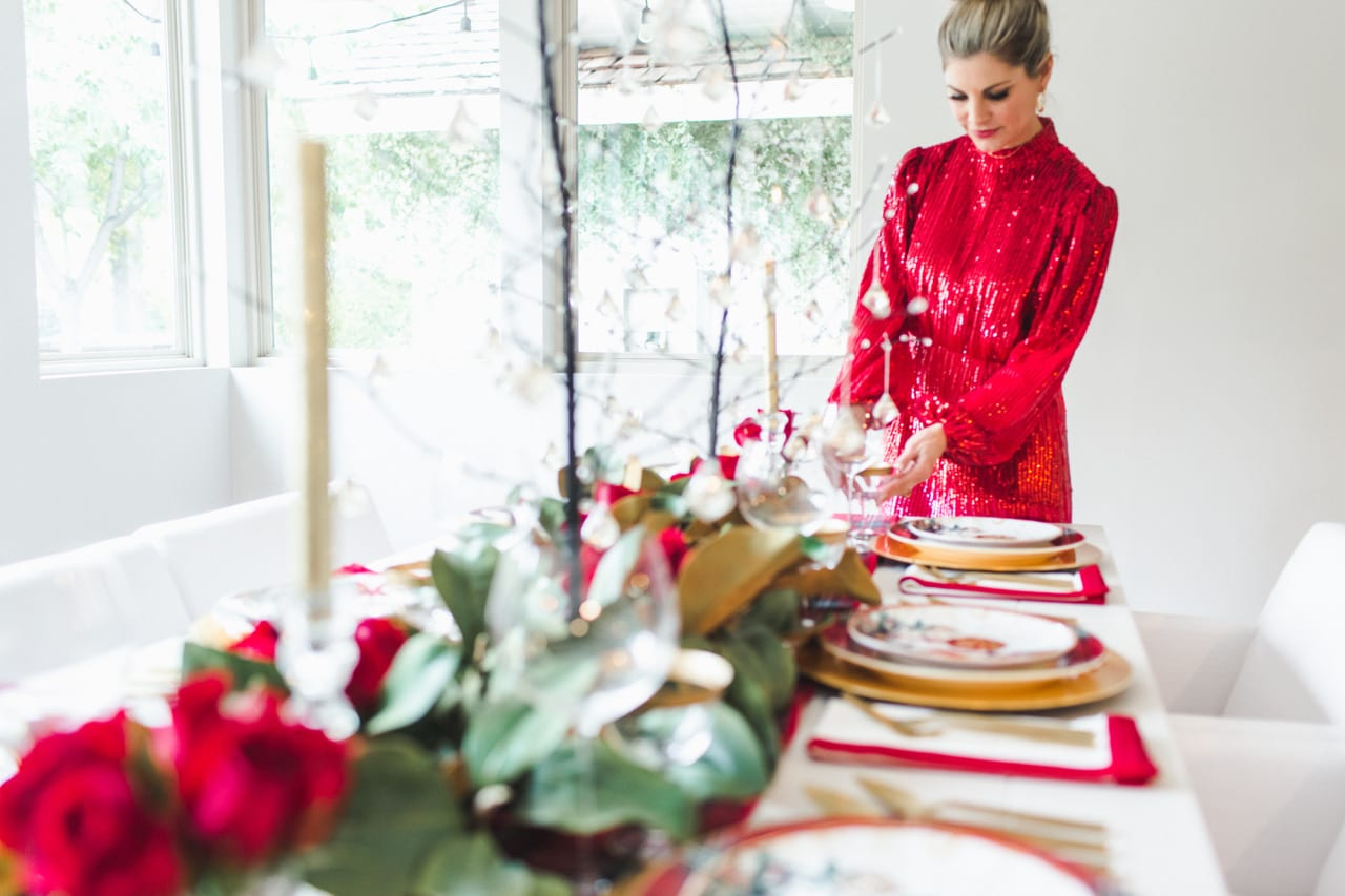 tablescape red traditional christmas entertaining hostess dinnerware holiday pacesetting