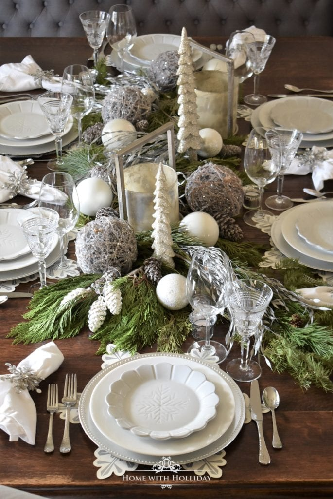 tablescape table setting winter white table decor place setting snowflakes white and silver table setting