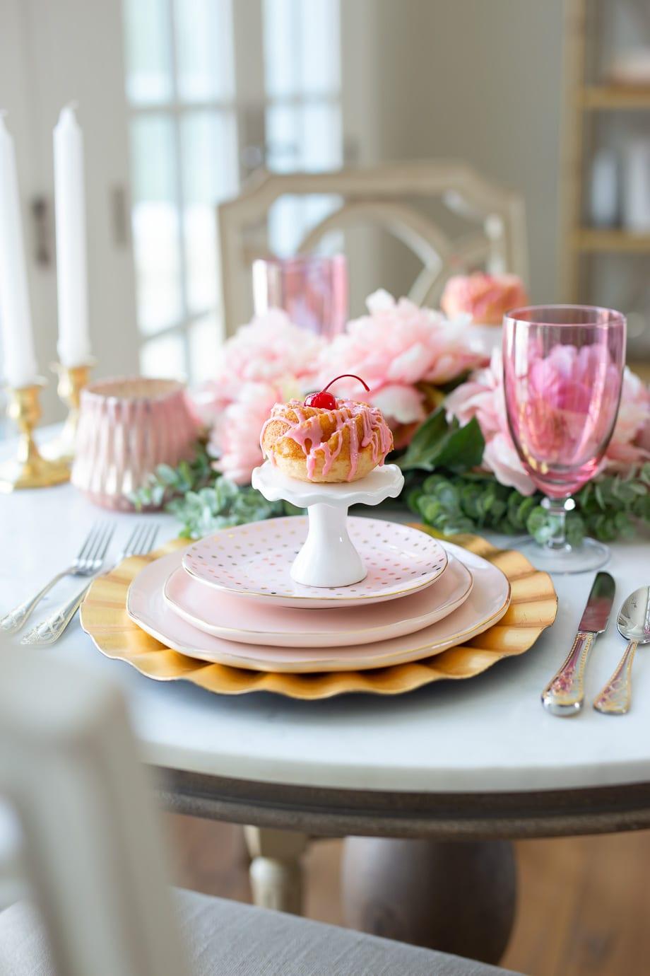 cherry chip cake mini bundt cakes valentines dessert pink cakes frosting baking homemade