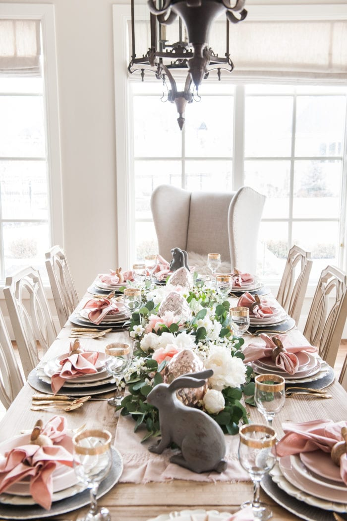 Pink and Gray Easter Tablescape