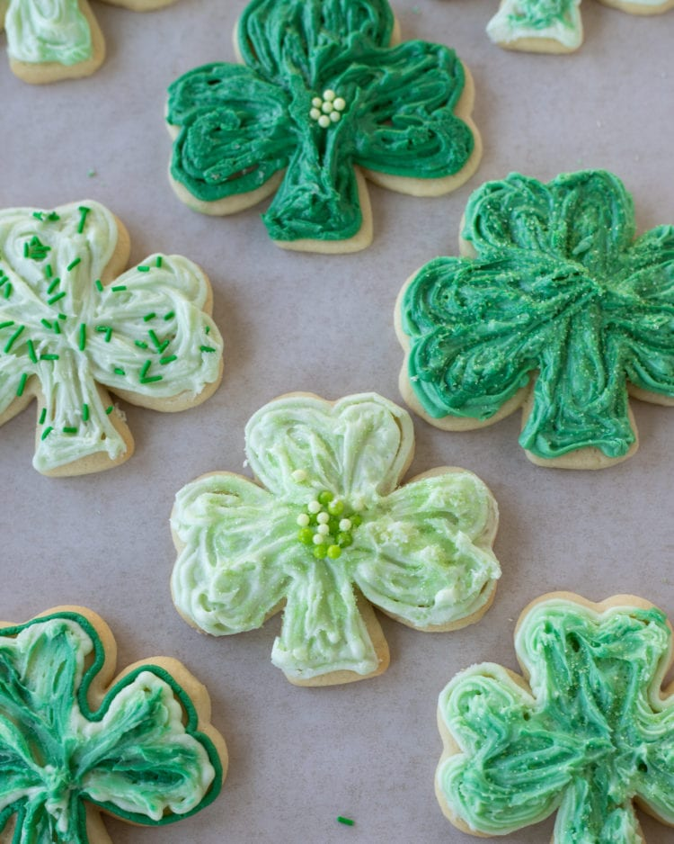 shamrock sugar cookies sugar cookie recipe baking frosting st. patricks day saint patrick's day celebration green cookies