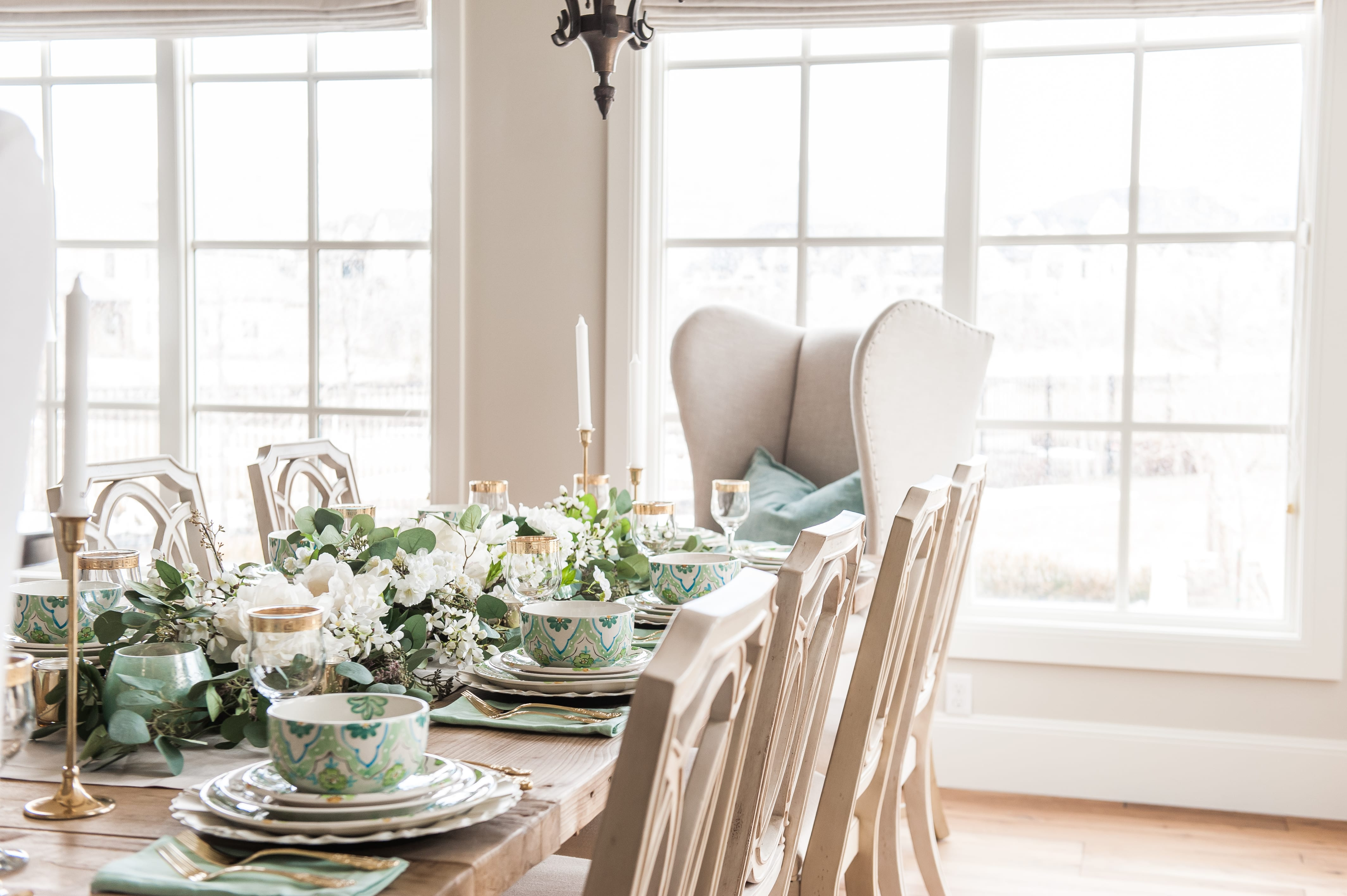 tablescape for easter spring saint Patricks Day