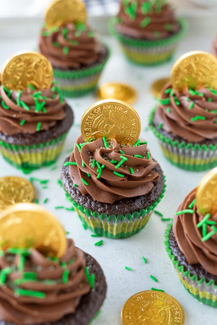 Saint Patricks Day Chocolate Cupcakes