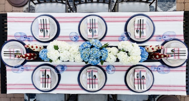 4th of July Red white and Blue Chic Tablescape