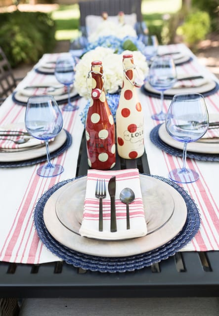 4th of July Red and Blue Chic Tablescape