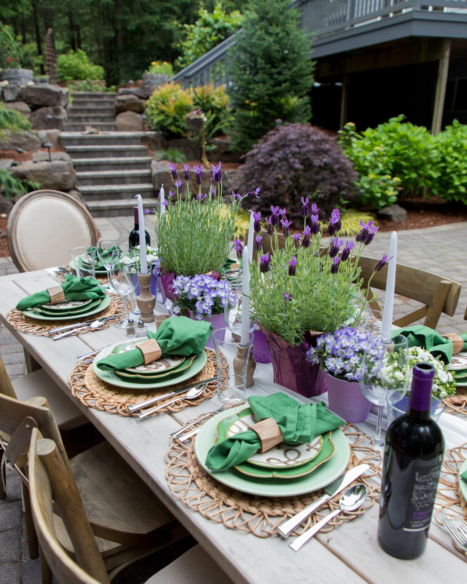 lavender and green place-setting