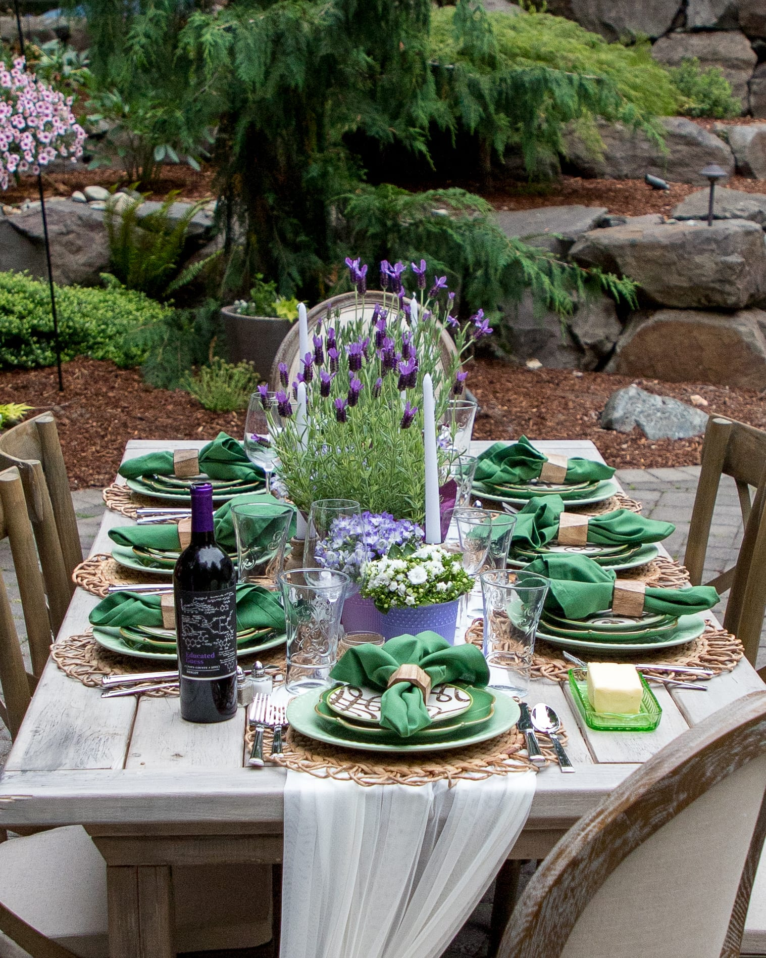lavender and green tablescape