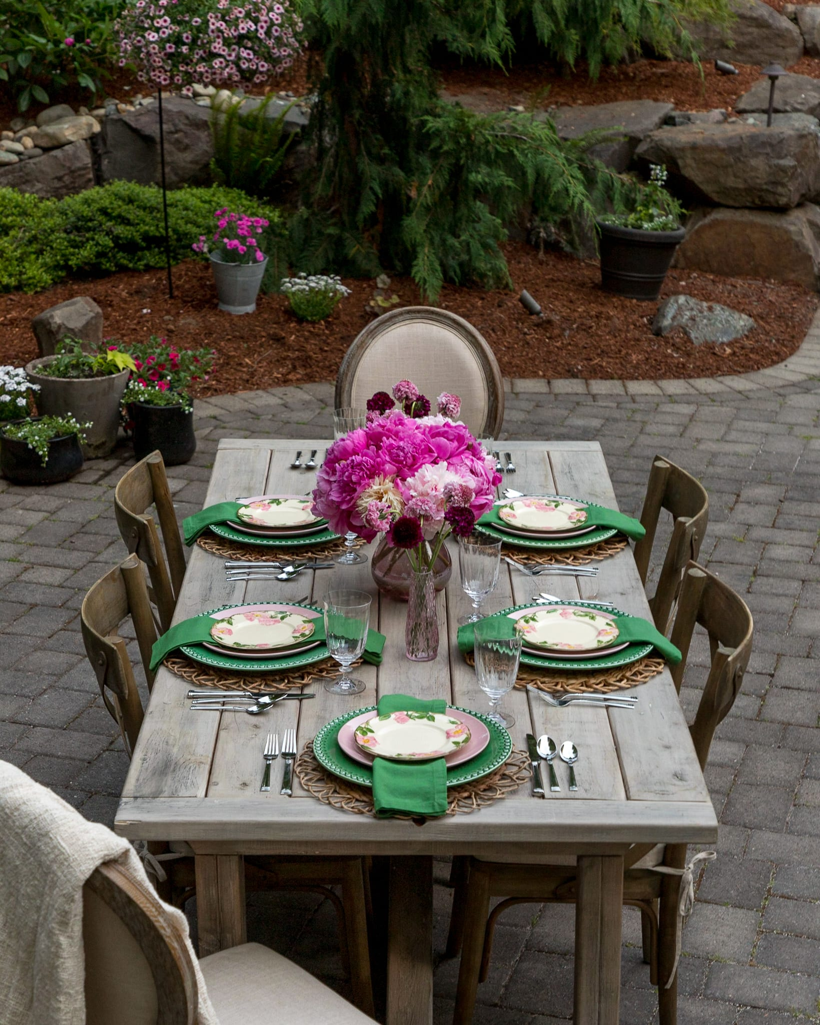 pink peonies centerpiece tablescape outdoor entertaining