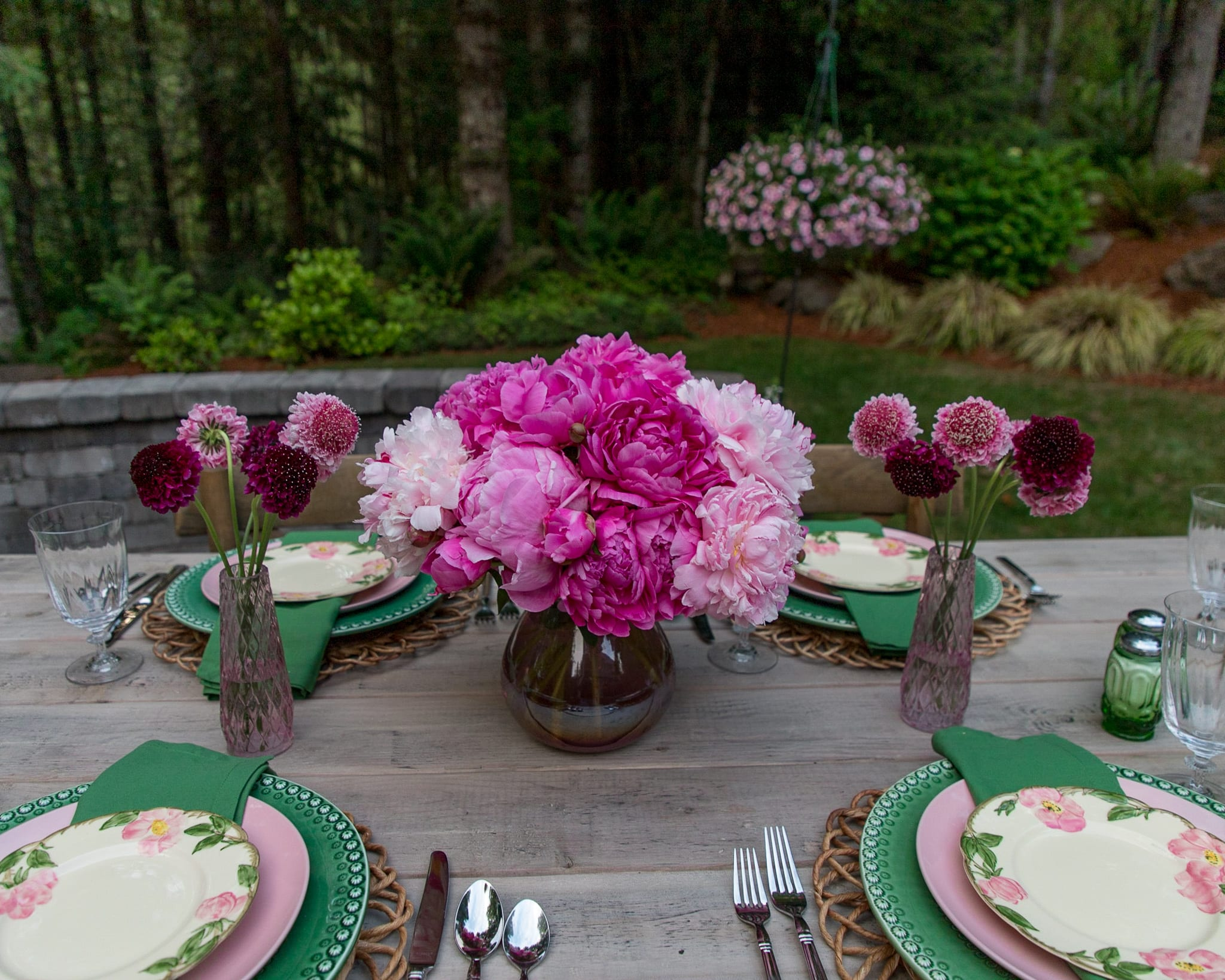 pink peonies tablescape