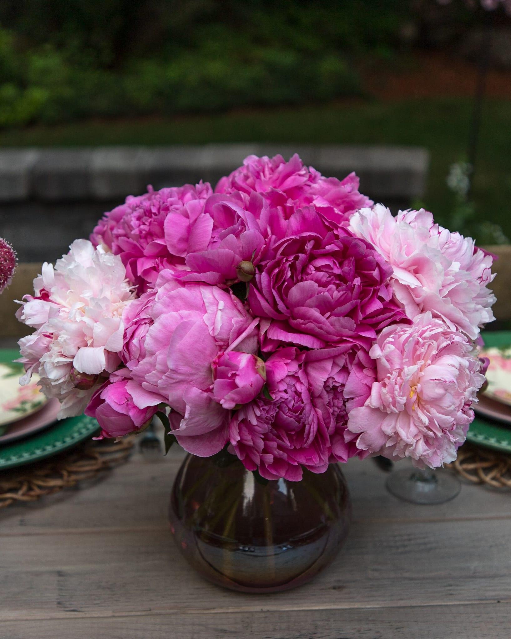 pink peonies centerpiece