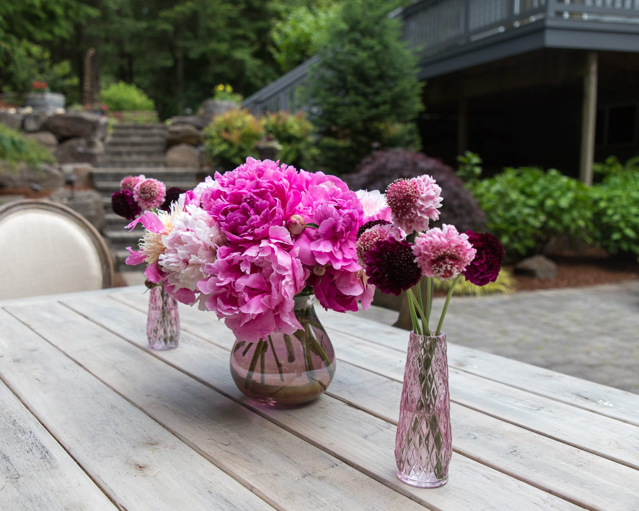 pink peonies centerpiece tablescape