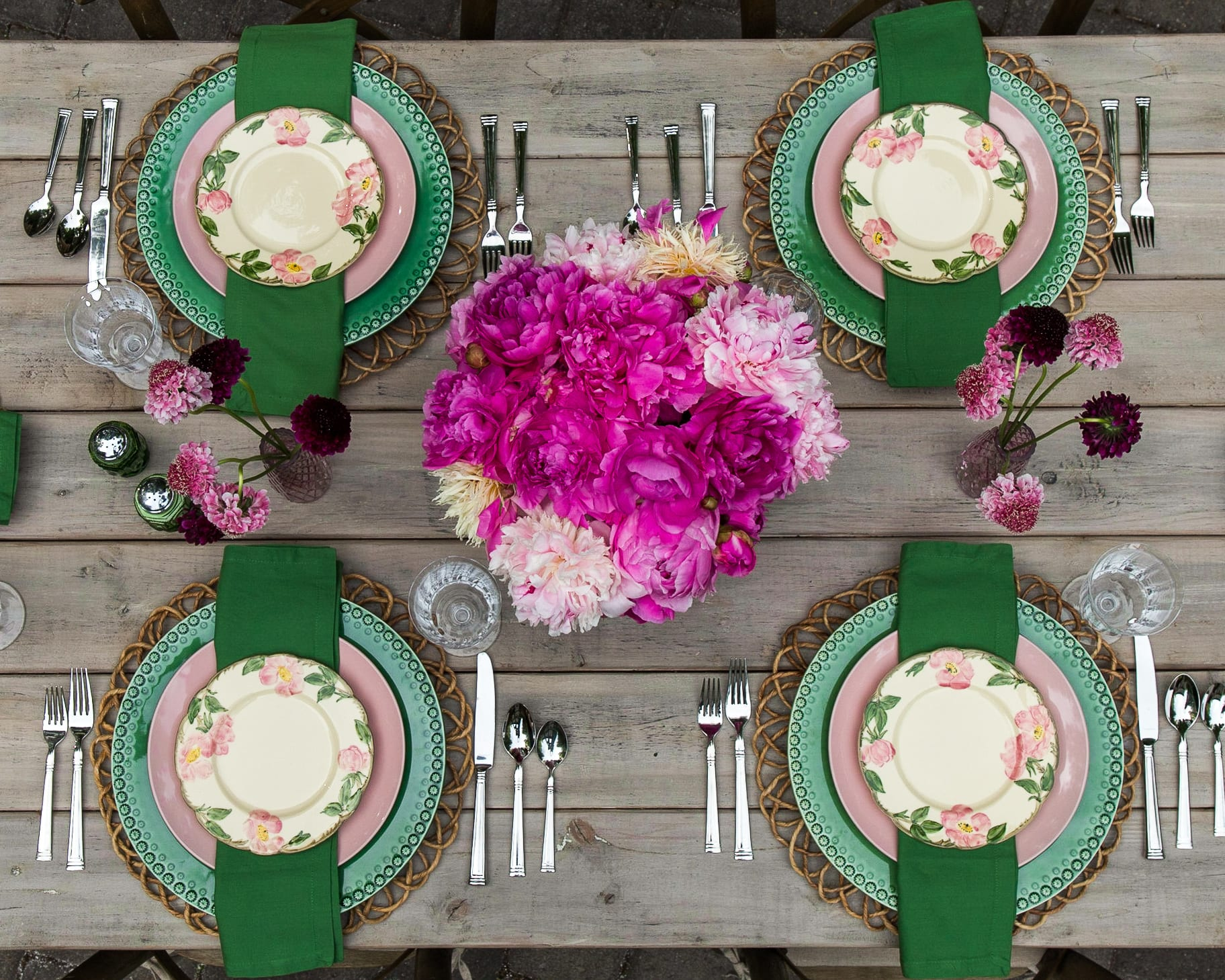 pink peonies summertime tablescape desert rose dishes