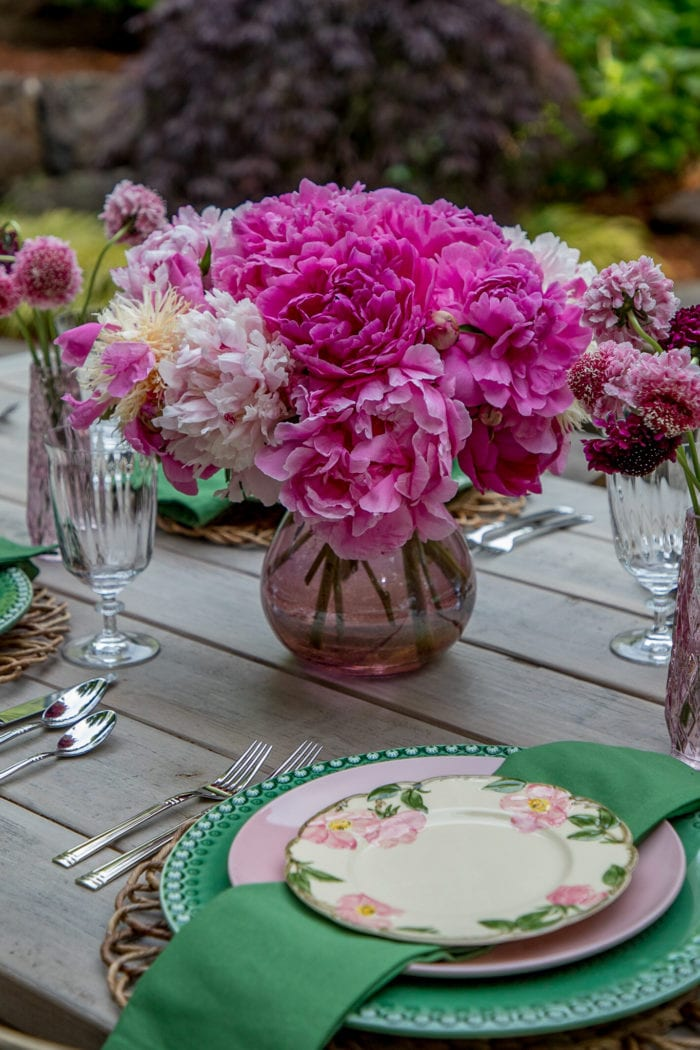 Pink Peony Summertime Tablescape