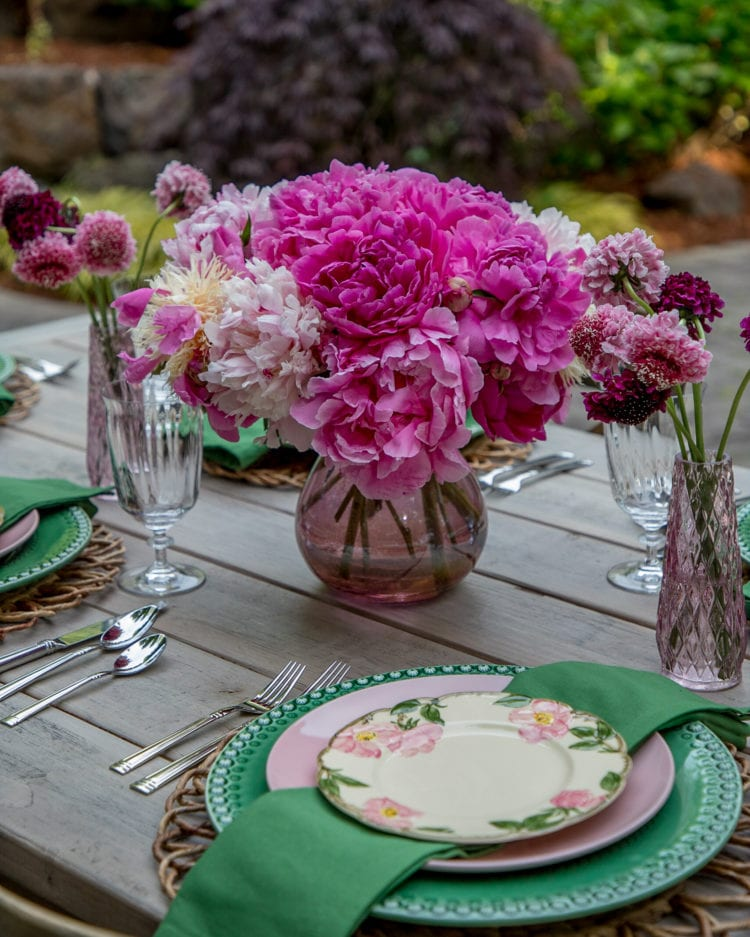 pink peonies summertime tablescape centerpiece
