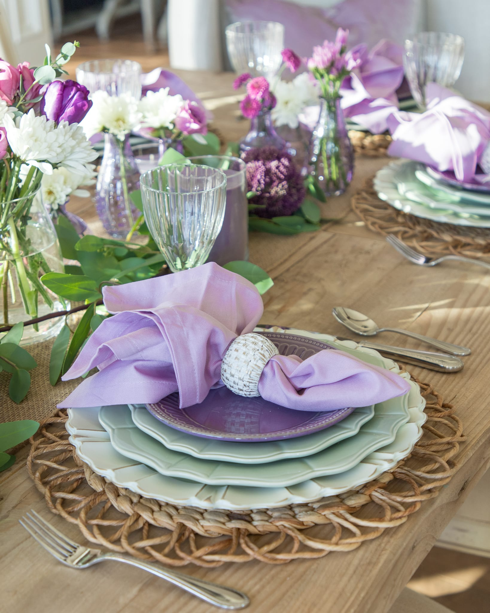 lavender and mint green place-setting