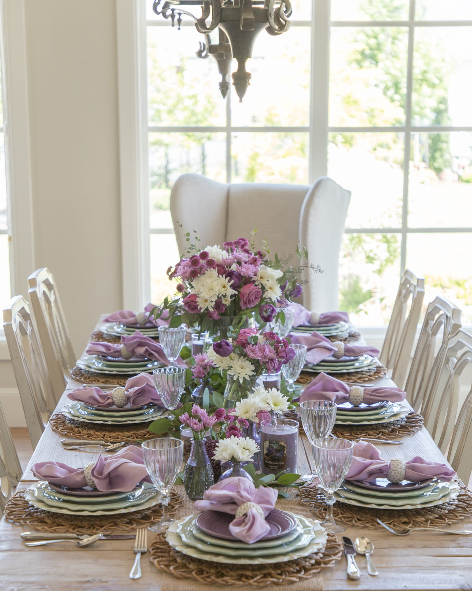 lavender and green tablescape summer entertaining