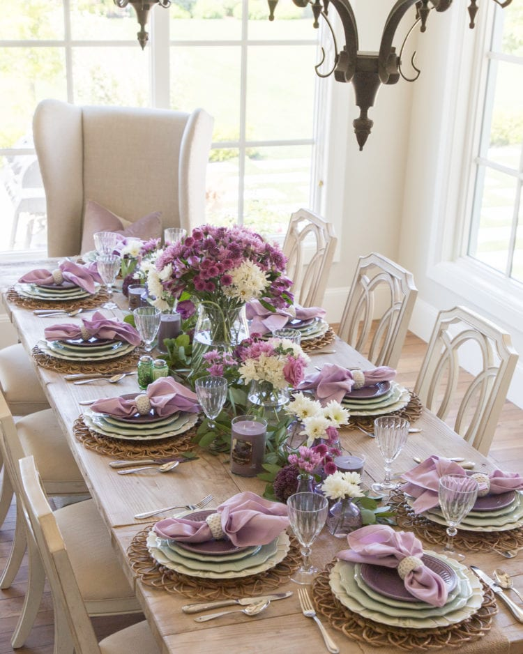 lavender and mint green tablescape with yankee candles