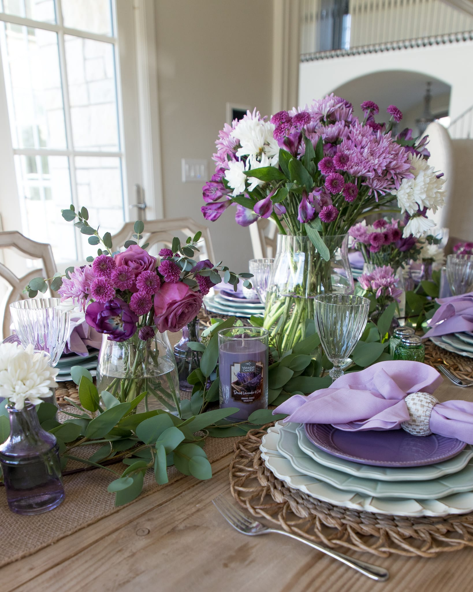 layered greenery centerpiece lavender tablescape
